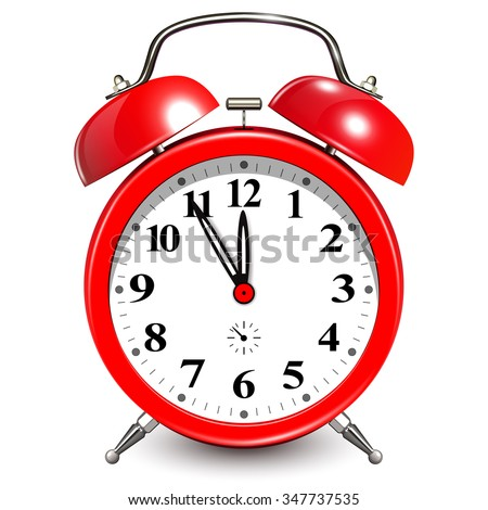 Alarm clock with five minutes to twelve o'clock.  - stock vector