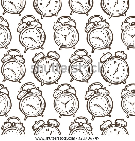 Alarm clocks pattern, seamless vector background - stock vector