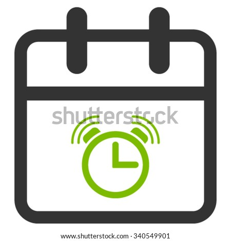 Alarm Date vector icon. Style is bicolor flat symbol, eco green and gray colors, rounded angles, white background. - stock vector