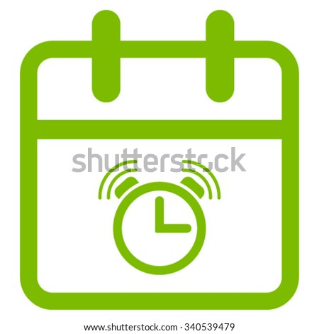 Alarm Date vector icon. Style is flat symbol, eco green color, rounded angles, white background. - stock vector