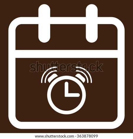 Alarm Date vector icon. Style is flat symbol, white color, rounded angles, brown background. - stock vector