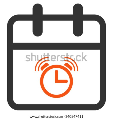 Alarm Day vector icon. Style is bicolor flat symbol, orange and gray colors, rounded angles, white background. - stock vector