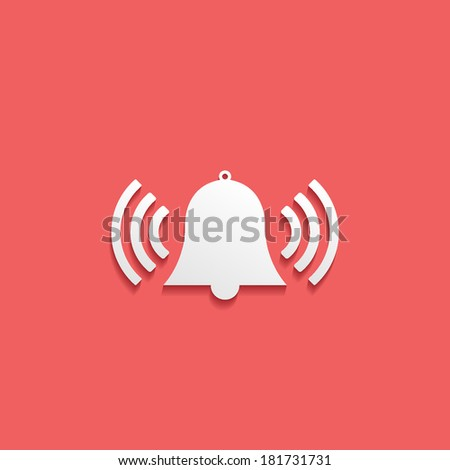 alarm, flat icon isolated on a red background for your design, vector illustration - stock vector
