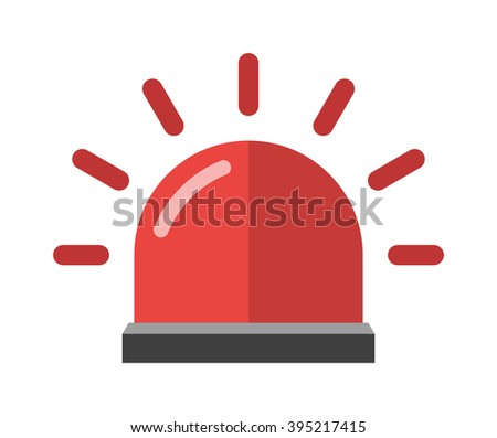 Alarm icon emergency sound bell and red alarm icon security reminder. Warn red alarm urgent protection icon. Attention red alarm. Police or ambulance red flasher siren alarm icon flat style vector.  - stock vector