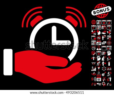Alarm Service icon with bonus calendar and time management pictogram. Vector illustration style is flat iconic bicolor symbols, red and white colors, black background.