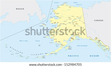 Us State Alaska Political Map Capital Stock Vector - Political map of alaska