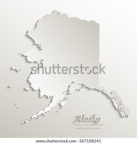 Alaska map card paper 3D natural vector - stock vector