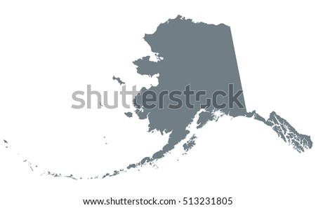 Silhouette Map Alaska United States America Stock Vector - Us map white silhouette