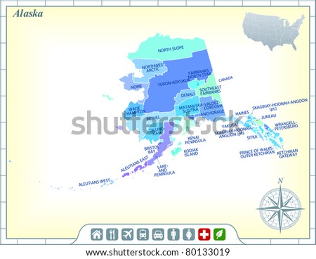 Alaska State Map with Community Assistance and Activates Icons Original Illustration - stock vector