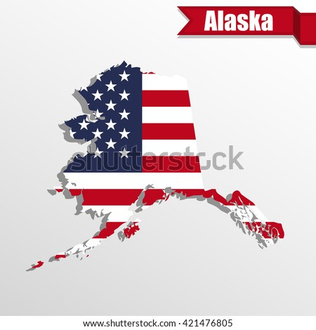 Map State Alaska American Flag Stock Vector Shutterstock - Us flag map