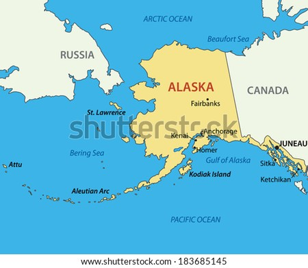 Alaska - vector map - stock vector