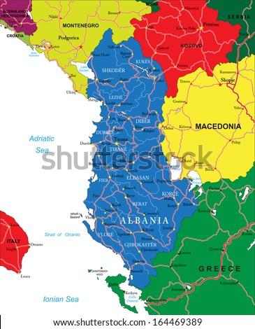 Albania map - stock vector