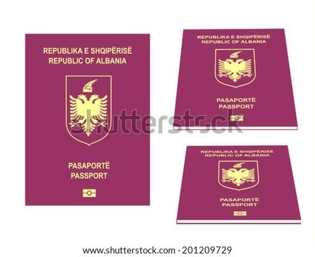 Albanian Passport Illustration - stock vector