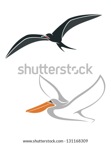 Albatross and pelican birds symbols isolated on white background for wildlife design. Jpeg (bitmap) version also available in gallery - stock vector
