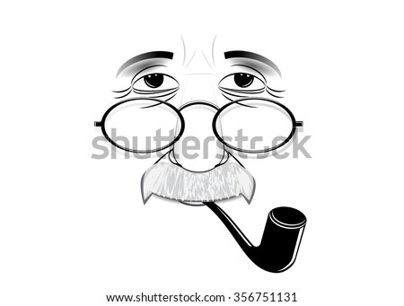Albert Einstein's silhouette wearing spectacles and with a tube - stock vector