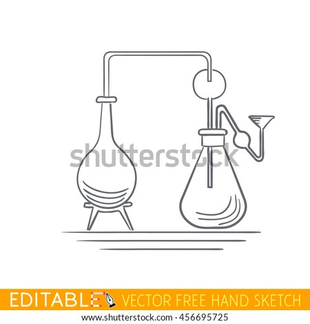 Alchemical glass flasks. Editable vector icon in linear style. - stock vector