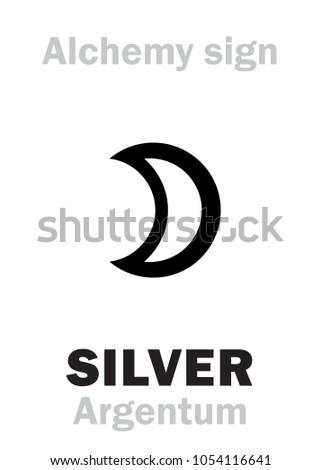 Alchemy Alphabet Silver Argentum Luna Artemis Stock Vector