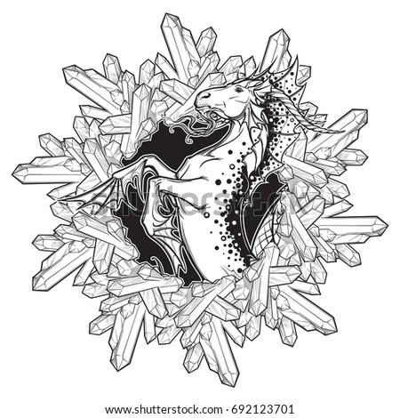 Capricorn tattoo zodiac stock images royalty free images for Capricorn coloring pages