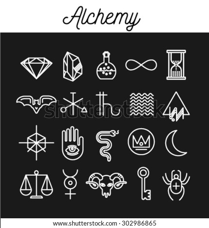 Alchemy Icon Set. vector Illustration - stock vector