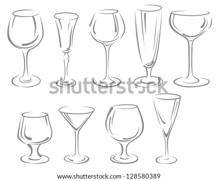 Alcohol and beverage glasses set isolated on white background. Jpeg version also available in gallery - stock vector
