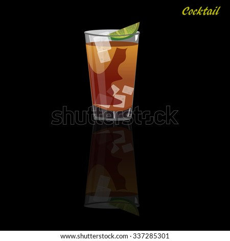 Alcohol and cocktails drinks. Vector illustration.
