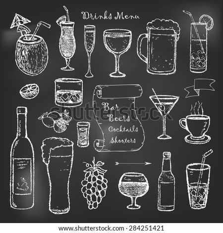 Alcohol and drinks menu on black board - stock vector
