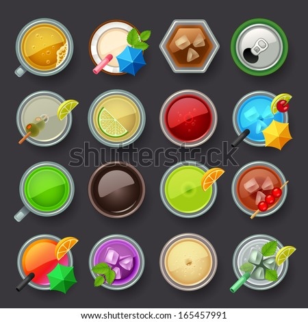 alcohol beverage and cocktail icon set - stock vector