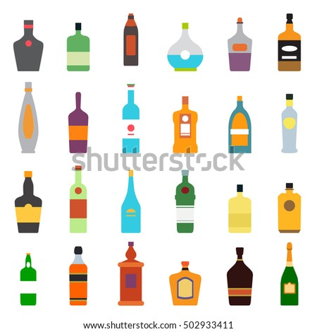 alcohol bottle flat icons set