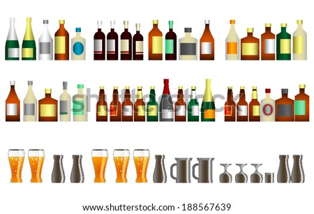 alcohol bottles and beer