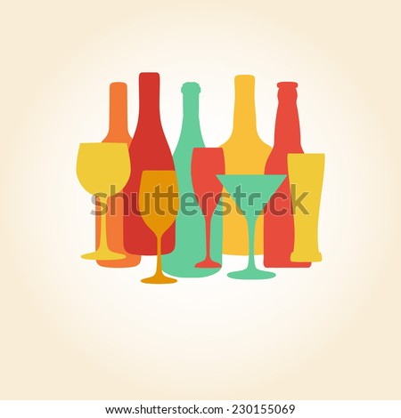 Alcohol Bottles and glasses illustration. Beer, champagne, wine and other drinks design. Menu and restaurant background