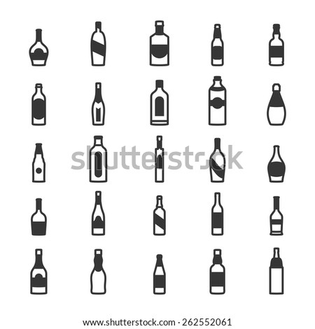 Alcohol bottles icons - stock vector