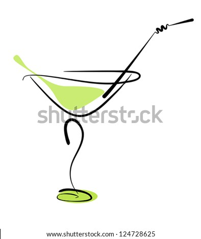 Alcohol cocktail in glass with straw on white. Vector eps10 illustration. Raster file included in portfolio - stock vector