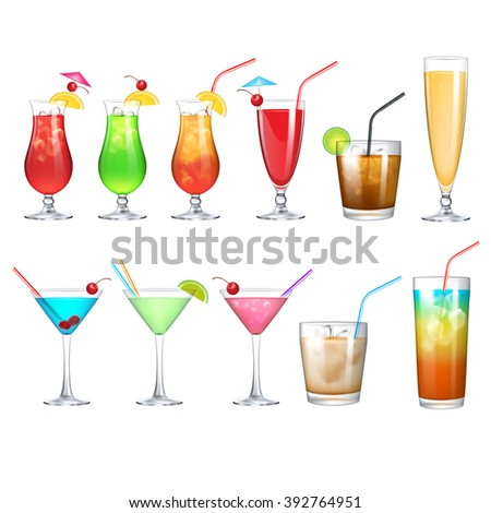 alcohol cocktail set - stock vector