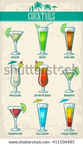 Alcohol cocktail set - margarita, sex on the beach, pina colada, daiquiri, mojito, cuba libre, cosmopolitan, blue lagoon, tequila sunrise. Vintage vector engraving poster, menu for summer party - stock vector
