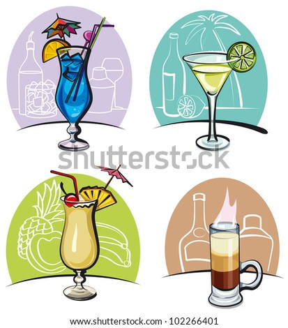 alcohol cocktails - stock vector