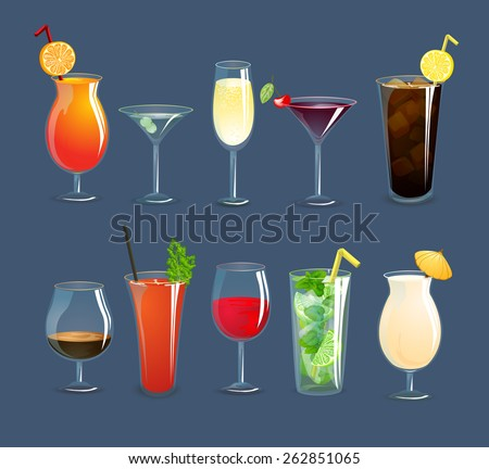 Alcohol drinks and cocktails in glasses decorative icons set isolated vector illustration - stock vector