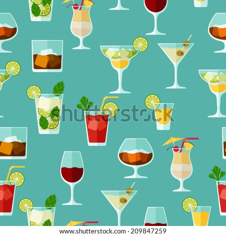 Alcohol drinks and cocktails seamless pattern in flat style. - stock vector
