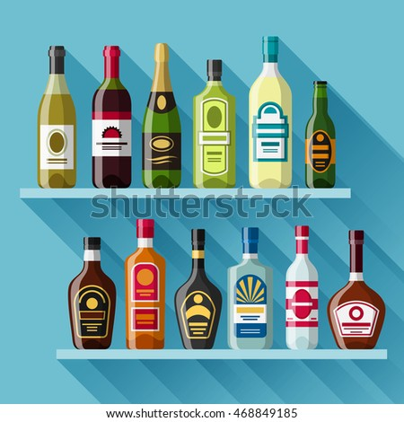 Alcohol drinks background design. Bottles for restaurants and bars.