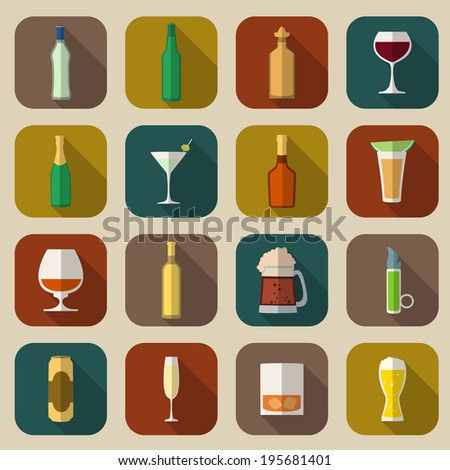 Alcohol drinks bottles and glass icons flat set of tequila vermouth whiskey isolated vector illustration - stock vector