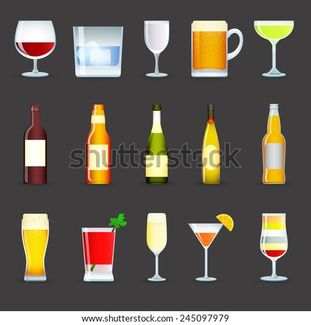 Alcohol drinks decorative icons set with cocktail beer wine vodka isolated vector illustration - stock vector