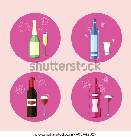Alcohol Drinks Icon Set in Flat Design Style. 