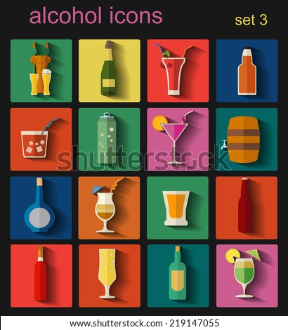 Alcohol drinks icons. 16 flat icons set. Vector illustration - stock vector