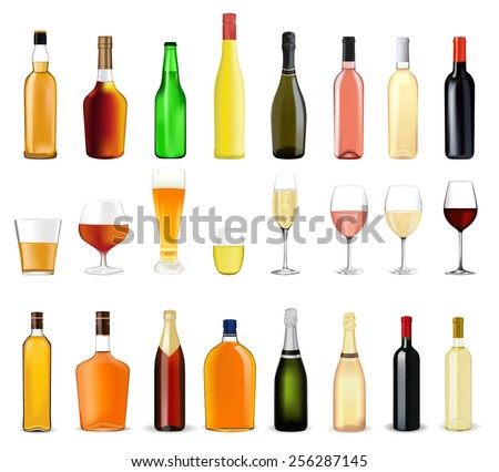 Alcohol drinks in bottles and glasses: whiskey, cognac, brandy, beer, liquor, champagne, wine   - vector drawing isolated on white background