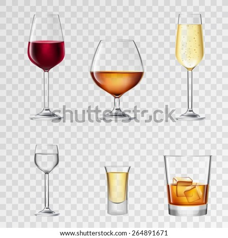 Alcohol drinks in 3d realistic glasses transparent set isolated vector illustration - stock vector