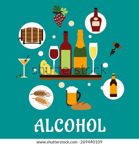 Alcohol drinks or beverages flat concept depicting bottles of wine, beer, champagne, brandy, filled wineglasses, barrel, glass with cocktail and olives and some snacks for party or restaurant design - stock vector