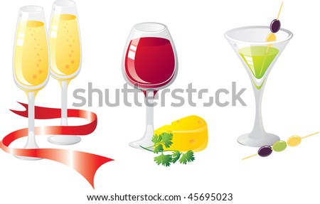 Alcohol drinks set. With cheese, greens and olives. Glasses are decorated by tapes. Without a transparency. Isolated on a white background