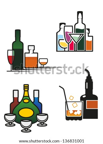 Alcohol drinks symbols and elements set for bar or pub menu design, also for logo template. Jpeg (bitmap) version also available in gallery - stock vector