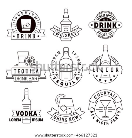 Alcohol drinks vector emblems, badges, logo set. Alcohol beverage whiskey and tequila, labels for vodka and liquor