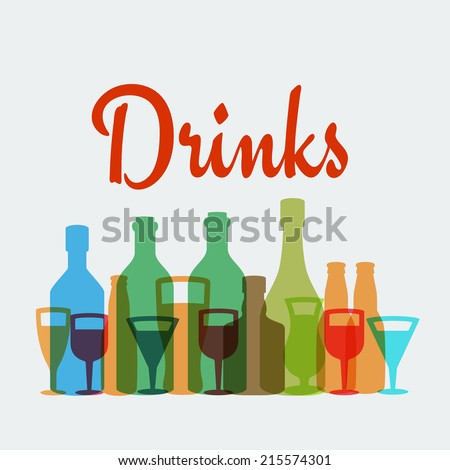 Alcohol drinks vector poster - stock vector