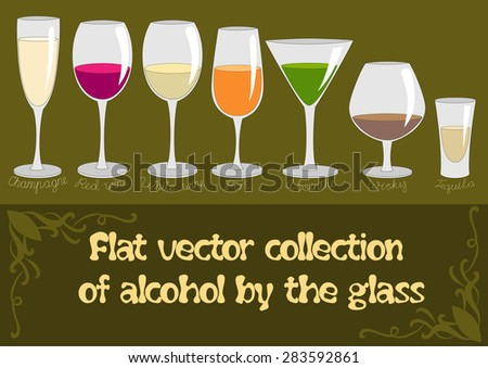 Alcohol drinks.  Vector Set of  Alcohol Drinks. Alcohol drinks  icon set in flat design style. - stock vector